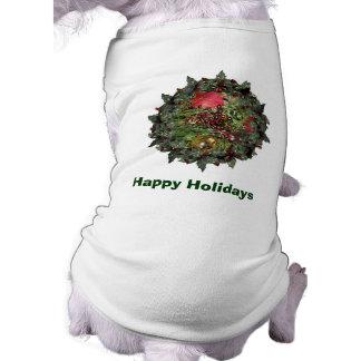 Día de fiesta del navidad de los árboles de hoja playera sin mangas para perro