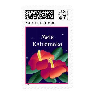 Día de fiesta del navidad de Mele Kalikimaka de Timbres Postales