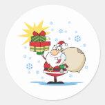 Día de fiesta del navidad de Papá Noel y de los pr Etiqueta
