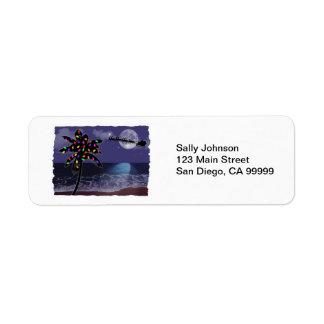 Día de fiesta del navidad del claro de luna del oc etiquetas de remite
