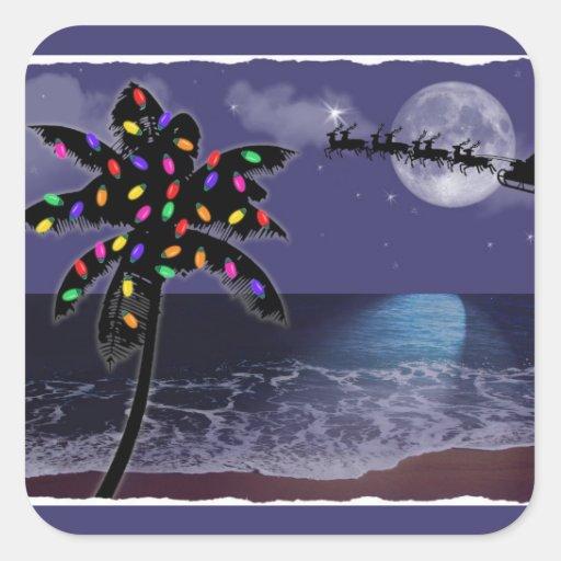 Día de fiesta del navidad del claro de luna del calcomanías cuadradas personalizadas