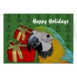 Día de fiesta del navidad del loro del Macaw del a Tarjeton