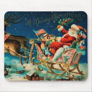 Día de fiesta del navidad del trineo de Papá Noel Tapetes De Raton