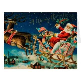 Día de fiesta del navidad del trineo de Papá Noel Tarjeta De Felicitación Grande