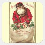Día de fiesta del navidad del vintage colcomanias cuadradass