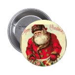 Día de fiesta del navidad del vintage pin redondo de 2 pulgadas