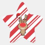 Día de fiesta del navidad divertido santa pegatina forma de estrella personalizada