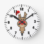 Día de fiesta del navidad divertido santa reloj de pared
