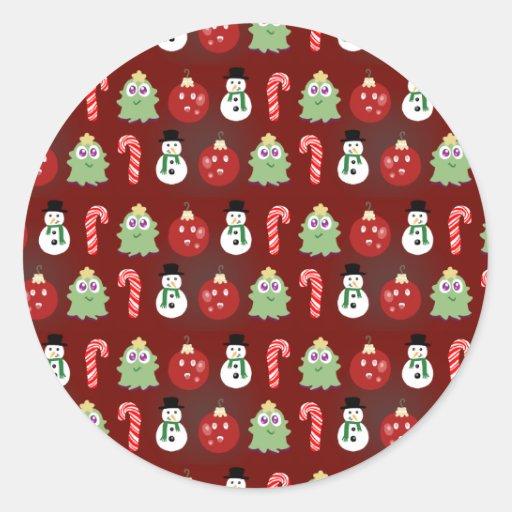 Día de fiesta del navidad etiquetas redondas