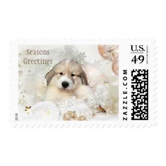 Día de fiesta del perrito de la acuarela de los sellos postales