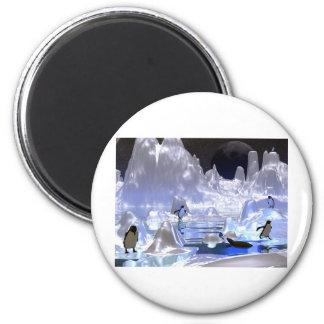 día de fiesta del pingüino del arte 3d imán redondo 5 cm