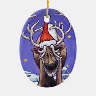 Día de fiesta del reno adorno ovalado de cerámica