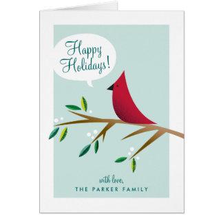 Día de fiesta doblado cardenal alegre tarjeta de felicitación