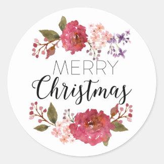 Día de fiesta el | del navidad del ramo del pegatina redonda