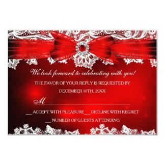 """Día de fiesta elegante RSVP del navidad del cordón Invitación 3.5"""" X 5"""""""