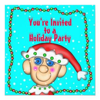"""Día de fiesta Elfie, le invitan, a a, celebración Invitación 5.25"""" X 5.25"""""""