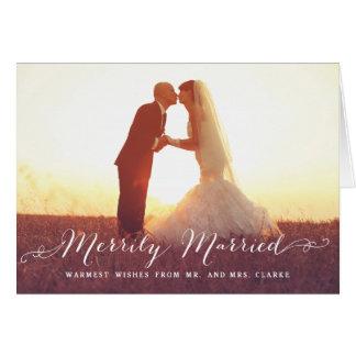 Día de fiesta feliz casado de la foto del navidad tarjeta de felicitación