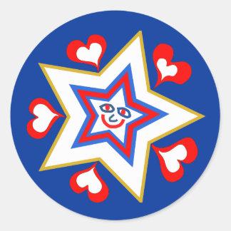 Día de fiesta feliz de la estrella pegatina redonda