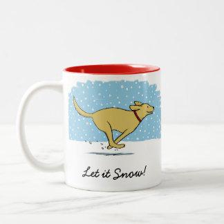 Día de fiesta feliz del perro de la nieve del taza de café de dos colores