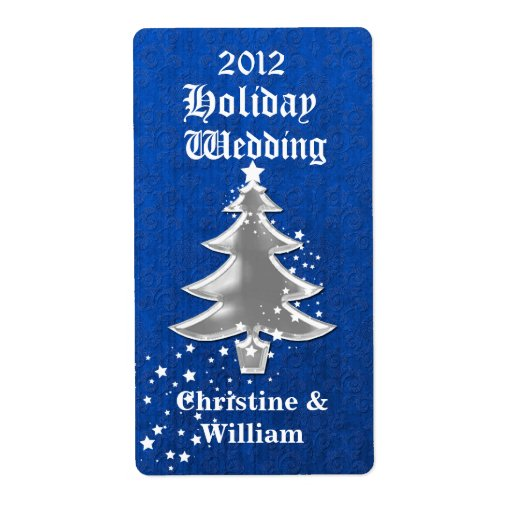 Día de fiesta festivo azul y blanco que casa el mi etiquetas de envío