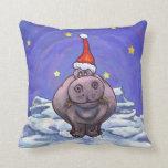 Día de fiesta festivo del hipopótamo cojín decorativo