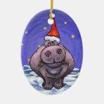 Día de fiesta festivo del hipopótamo adorno de navidad