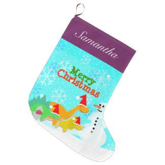 Día de fiesta lindo de los dinosaurios de las calcetín navideño grande