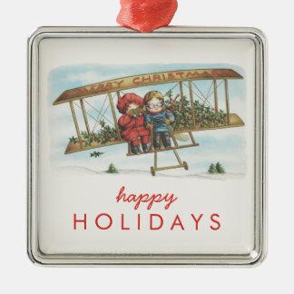 Día de fiesta lindo del aeroplano de los niños del adorno navideño cuadrado de metal