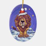 Día de fiesta lindo del león adornos de navidad