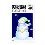 Día de fiesta lindo del muñeco de nieve del dibujo sello postal