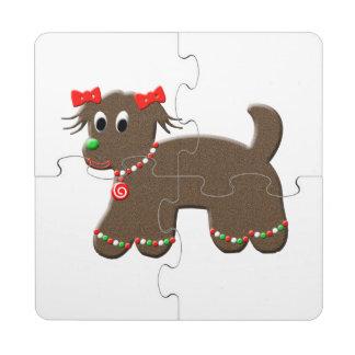 Día de fiesta lindo del navidad del perro de posavasos de puzzle