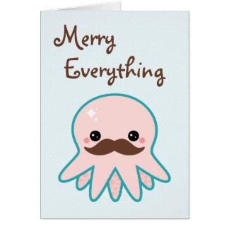 Día de fiesta lindo del pulpo del bigote tarjeta de felicitación