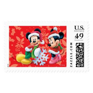 Día de fiesta Mickey y Minnie Sello Postal