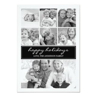 Día de fiesta multi Photocard - negro del collage Invitación 12,7 X 17,8 Cm