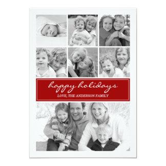 Día de fiesta multi Photocard - rojo del collage Invitación 12,7 X 17,8 Cm