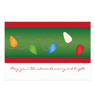 Día de fiesta multicolor de las luces de navidad tarjetas postales