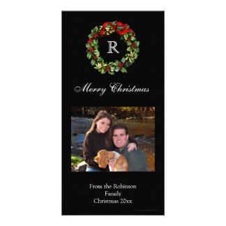 Día de fiesta negro clásico de la guirnalda del tarjetas personales con fotos