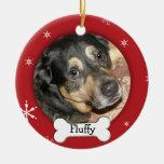 Día de fiesta personalizado de la foto del perro/d adorno de navidad