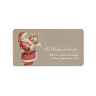 Día de fiesta personalizado Santa del navidad del Etiqueta De Dirección