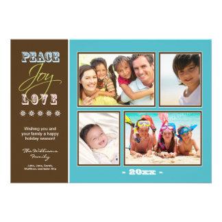 Día de fiesta Photocard (aguamarina) de la familia Comunicado Personalizado