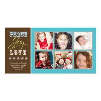 Día de fiesta Photocard (aguamarina) de la familia Plantilla Para Tarjeta De Foto
