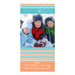 Día de fiesta Photocard (coral) de la familia del  Tarjeta Con Foto Personalizada