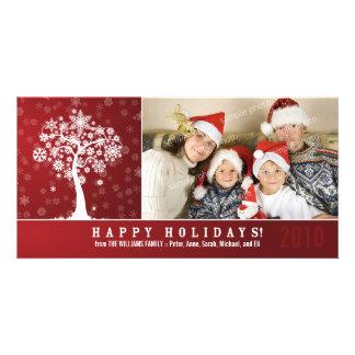 Día de fiesta Photocard de la familia del árbol Plantilla Para Tarjeta De Foto