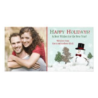 Día de fiesta Photocard del muñeco de nieve de la Tarjetas Personales Con Fotos