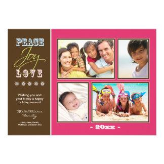 Día de fiesta Photocard (fucsia) de la familia del Invitaciones Personalizada