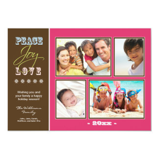 """Día de fiesta Photocard (fucsia) de la familia del Invitación 5"""" X 7"""""""