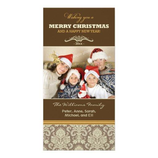 Día de fiesta Photocard (marrón) de la familia del Tarjeta Con Foto Personalizada