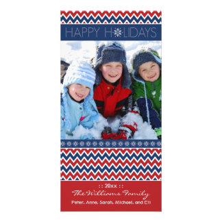 Día de fiesta Photocard (rojo/azul de la familia d Tarjeta Con Foto Personalizada
