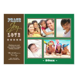 """Día de fiesta Photocard (verde) de la familia del Invitación 5"""" X 7"""""""