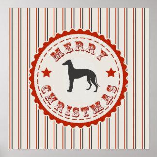 Día de fiesta retro del perro del galgo de las póster